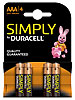 Duracell Simply Batterien AAA Micro LR03 Alkaline im 4er-Pack Duracell Alkaline-Batterien Micro (AAA)