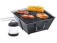 PEARL Camping-Grillset: Faltbarer Klappgrill und Mini-Campingleuchte PEARL Faltgrills