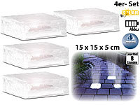 lunartec solar pflastersteine solar led glasbaustein mit lichtsensor 4er set gro 10x10cm. Black Bedroom Furniture Sets. Home Design Ideas