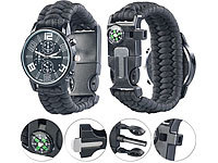 Semptec Urban Survival Technology 5in1-Armbanduhr mit Paracordband, Feuerstahl, Kompass, Notfallpfeife Semptec Urban Survival Technology 5in1-Armbanduhr mit Paracordband, Feuerstarter, Kompass & Notfallpfeife