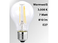 Luminea LED-Filament-Birne, A60, A++, E27, 7 W, 810 lm, 270°, 3000 K Luminea LED-Filament-Tropfen E27 (warmweiß)