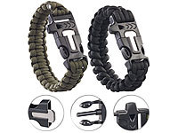 Semptec Urban Survival Technology 2er-Set Survival-Armbänder mit Seil, Pfeife, Feuerstahl und Messer Semptec Urban Survival Technology Paracord-Armbänder