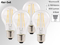 Luminea LED-Filament-Birne, E27, A++, 6 W, 806 Lumen, 360°, warmweiß, 4er-Set Luminea LED-Filament-Tropfen E27 (warmweiß)