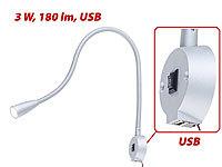 Lunartec LED Bett  U0026 Leseleuchte Mit Schwanenhals U0026 USB Ladebuchse, 3 W,  180 Lm