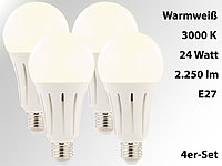 Luminea High-Power-LED-Lampe E27, 24 Watt, 2.250 Lumen, 3000 K, 4er-Set Luminea LED-Tropfen E27 (neutralweiß)