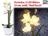 "Lunartec LED-Orchidee ""Real Touch"" mit 3 LED-Blüten, 55 cm, weiß Lunartec LED-Blumen mit Real Touch"