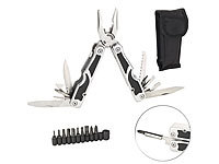 Semptec Urban Survival Technology 27in1-Multitool aus Edelstahl mit Schraubendreher-Set und Gürteltasche Semptec Urban Survival Technology Multitools mit Schraubendreher-Sets
