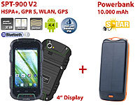 simvalley MOBILE Outdoor-Smartphone SPT-900 V2 + Solar-Powerbank simvalley MOBILE Android-Outdoor-Smartphones