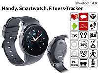 simvalley MOBILE Handy-Uhr & Bluetooth-Smartwatch für iOS & Android, Herzfrequenz, rund simvalley MOBILE Handy-Smartwatches mit Bluetooth für Android und iOS