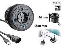 xystec usb tischdose tisch kabeldose 80 mm usb 3 0 hub card reader audioanschluss kabeldose. Black Bedroom Furniture Sets. Home Design Ideas