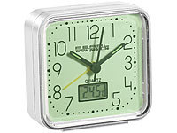 PEARL Quarz-Wecker, nachleuchtend, mit Digital-Thermometer PEARL Quarz-Wecker mit Thermometer