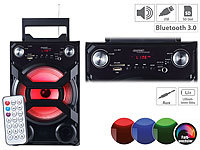 auvisio Mobile Akku-Musikanlage, Bluetooth, Karaoke-Funktion, USB, SD, 30 Watt auvisio Mobile Party-Audioanlagen mit Karaoke-Funktionen