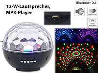 auvisio Mobile Discokugel m. Bluetooth, 12-W-Lautsprecher, MP3-Player, 1200mAh auvisio Bluetooth-Lautsprecher und MP3-Player mit Discokugel