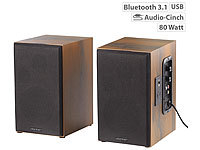 auvisio Aktives Bluetooth-Stereo-Regallautsprecher-Set im Holz-Gehäuse, 80 W auvisio Aktive Bluetooth-Stereo-Regallautsprecher-Sets mit USB-Ladeports