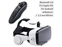 auvisio Virtual-Reality-Brille mit Headset & Bluetooth-Game-Controller im Set auvisio Virtual-Reality-Brillen mit Kopfhörer für Smartphones