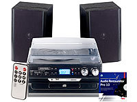 auvisio 5in1-Plattenspieler mit Bluetooth, Digitalisier-Funktion, Software auvisio HiFi-Stereoanlagen & Audio-Digitalisierer für Schallplatten, CDs und Kassetten