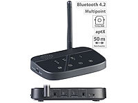 auvisio 2in1-Audio-Sender & -Empfänger, Bluetooth 4.2, aptX, 50 m Reichweite auvisio Audio-Transmitter & -Receiver mit Bluetooth