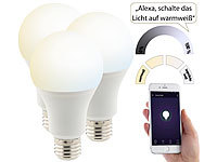 Luminea 3er-Set WLAN-LED-Lampen, Amazon Alexa & Google Assistant komp., E27 Luminea E27-LED-Lampen, kompatibel zu Amazon Alexa & Google Assistant