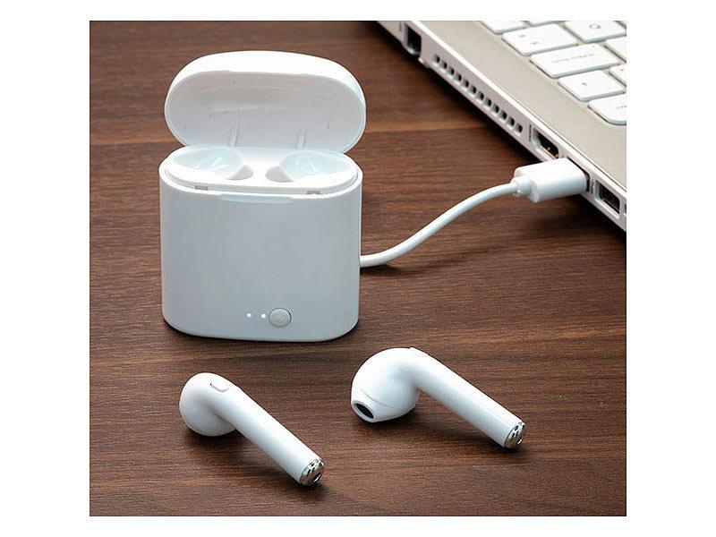 smartpods kabellose bluetooth kopfh rer mit lade etui in ear weiss. Black Bedroom Furniture Sets. Home Design Ideas