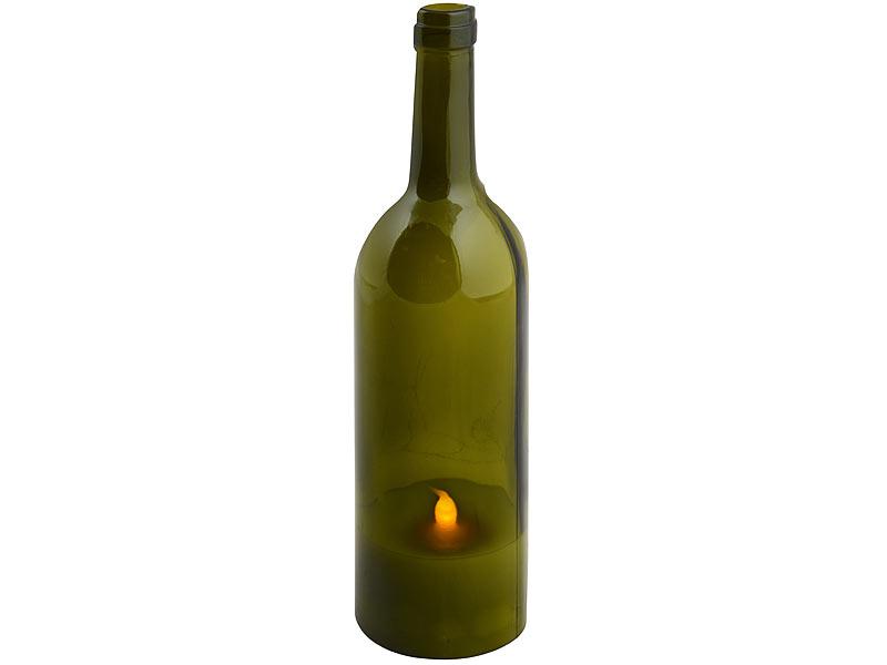 Led Echtwachs Kerze In Weinflasche
