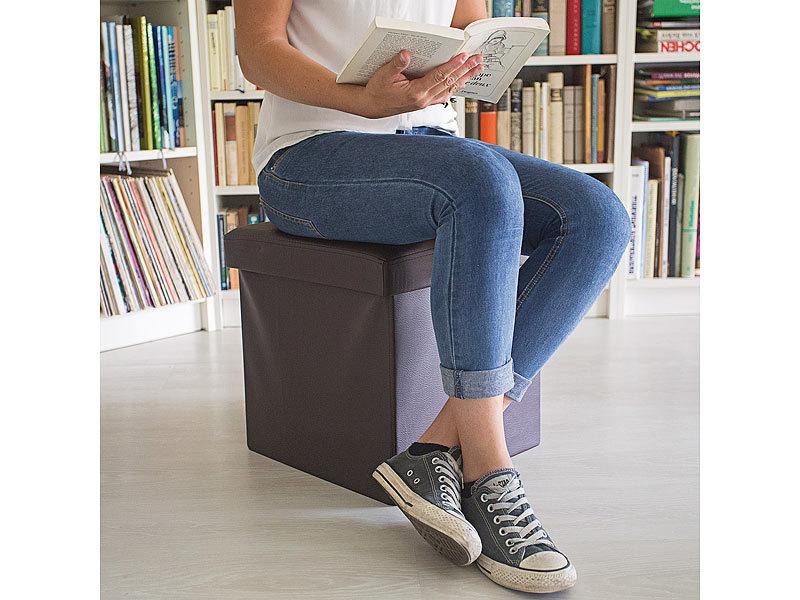 Kunstleder sitzhocker mit stauraum braun for Sitzhocker mit stauraum