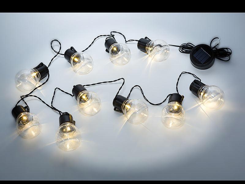 led solar gl hlampenlichterkette mit 10 warmweissen leds. Black Bedroom Furniture Sets. Home Design Ideas
