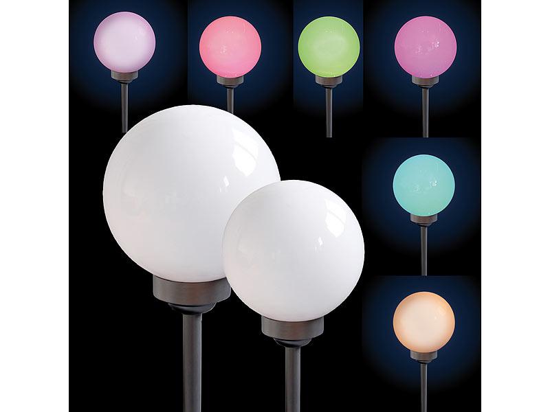 rgb solar leuchtkugel mit farbwechsler inkl fernbedienung 25 cm. Black Bedroom Furniture Sets. Home Design Ideas