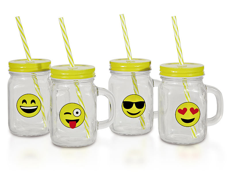 retro trinkglas mit henkel deckel trinkhalm 6er set motiv smile. Black Bedroom Furniture Sets. Home Design Ideas