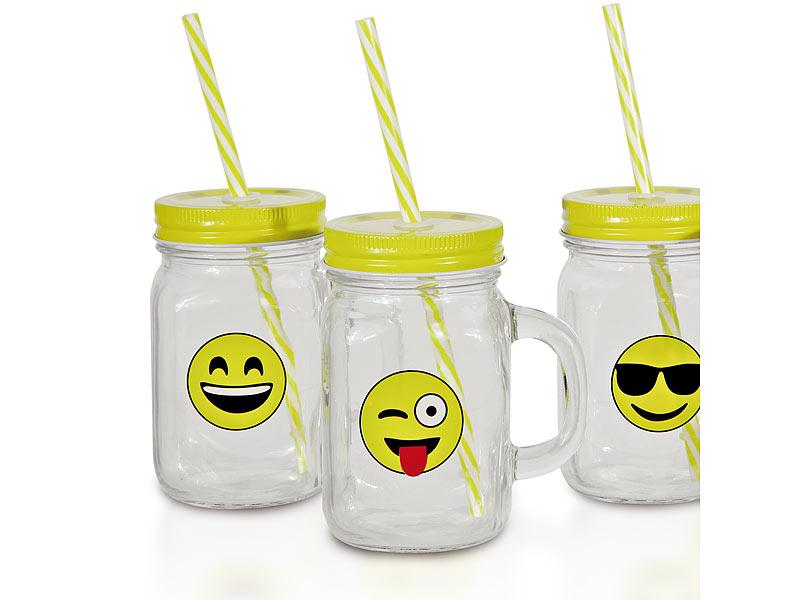 Retro trinkglas mit henkel deckel trinkhalm 6er set for Deckel trinkglas