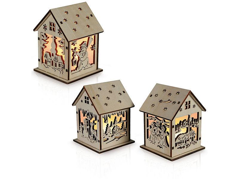 Holzhaus mit Weihnachtsmotiv, 3er-Set