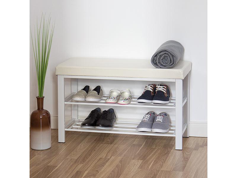 schuhbank mit polsterung weiss. Black Bedroom Furniture Sets. Home Design Ideas