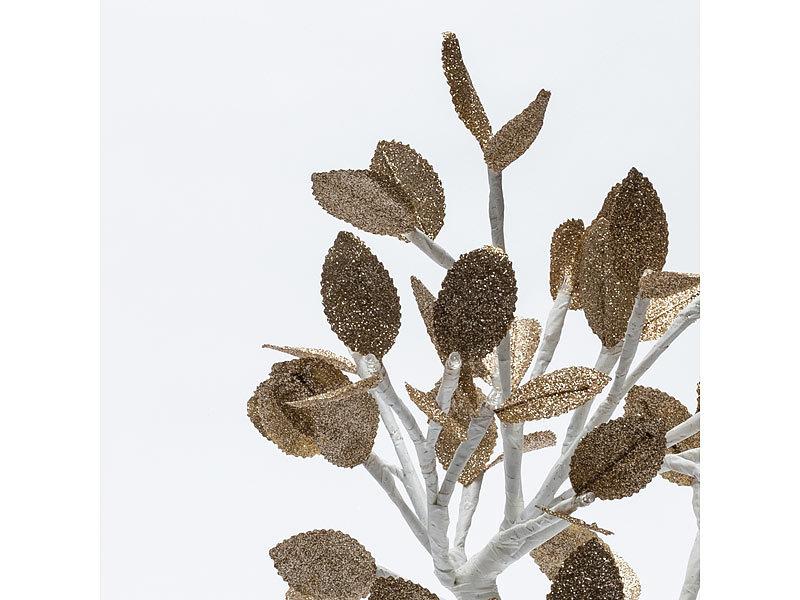 led baum mit schnee goldenen bl ttern und 32 leds 45 cm. Black Bedroom Furniture Sets. Home Design Ideas