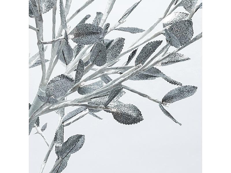 LED-Baum mit Schnee , silbernen Blättern und 96 LEDs, 100 cm