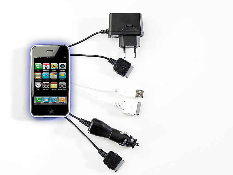 3in1 komplett set f r iphone 3gs usb kabel 12v ladekabel reiselader. Black Bedroom Furniture Sets. Home Design Ideas