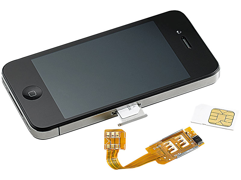 adapter für sim karte Callstel iPhone Dualsim: Dual SIM Adapter iPhone 4/4s mit Slot für