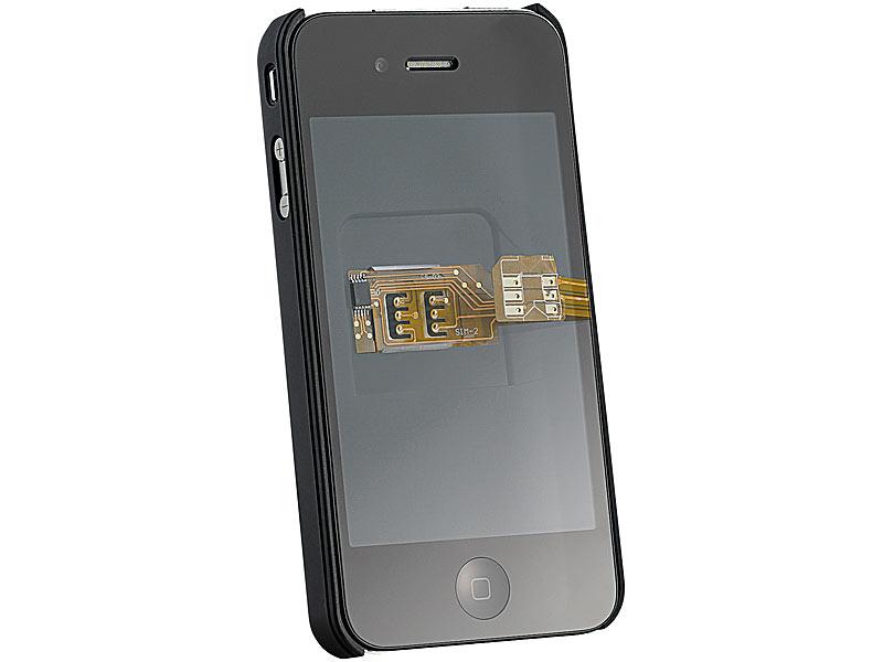 callstel dual sim adapter iphone 4 4s mit slot f r zweite. Black Bedroom Furniture Sets. Home Design Ideas