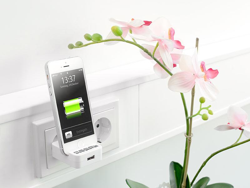 pearl netzteil wand ladeger t ab iphone 5 mit usb port und smartphone halterung apple ladeger t. Black Bedroom Furniture Sets. Home Design Ideas