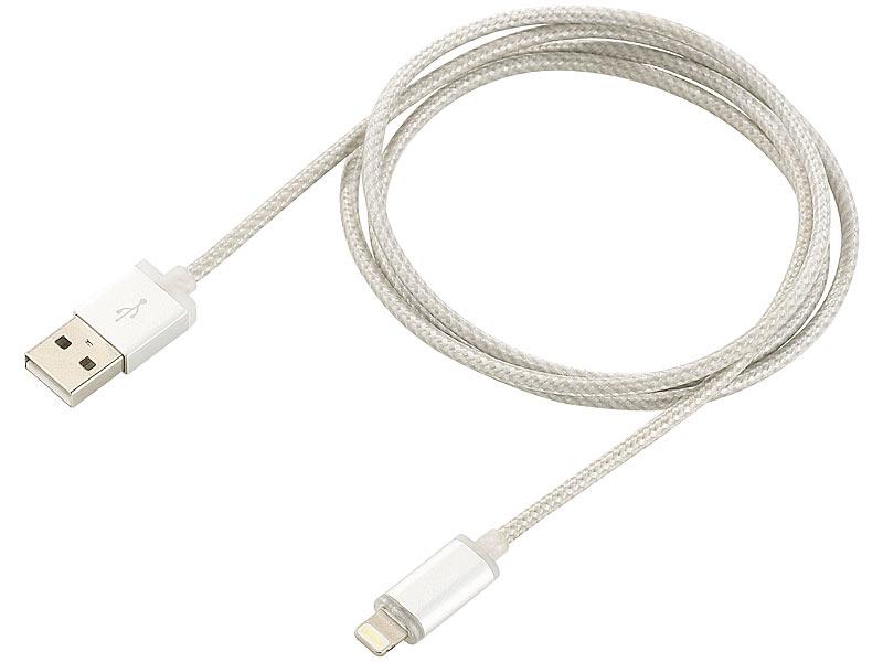 LED-Ladekabel ab iPhone 5, silber, Apple-zertifiziert 1m