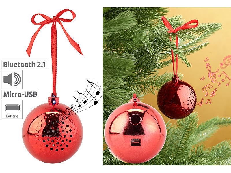 Callstel Weihnachtskugel Christbaumkugel-Lautsprecher mit Bluetooth Weihnachtskugel-Lautsprecher silbern