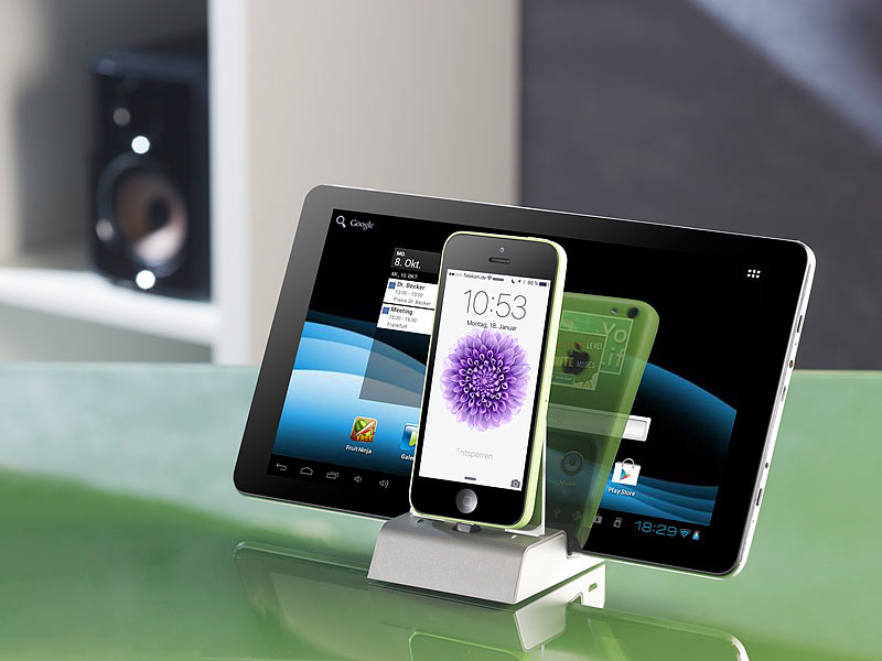 Callstel Lightning Dockingstation: Docking-Station mit Bluetooth ...