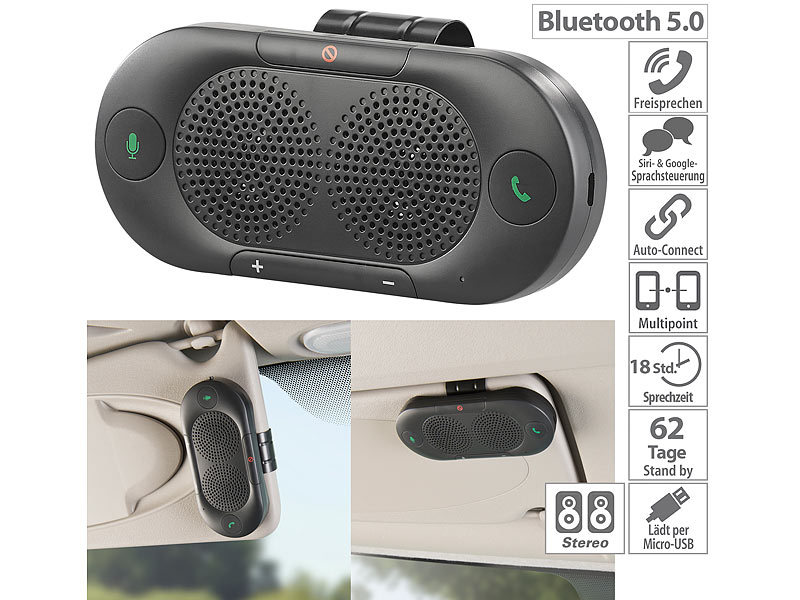 Kit mains libres avec bluetooth 5.0 multipoint, compatible Siri & G...
