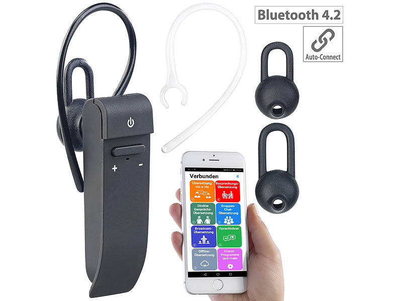 2in1-Live-Übersetzer und In-Ear-Mono-Headset, kabellos, Bluetooth, App