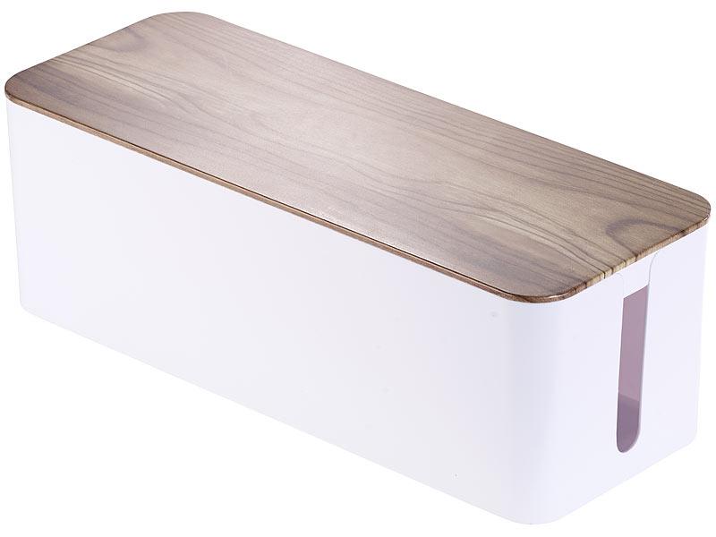 callstel kabelaufbewahrung kabelbox gro 39 x 15 5 x 14 cm in nussbaum holzoptik mit. Black Bedroom Furniture Sets. Home Design Ideas