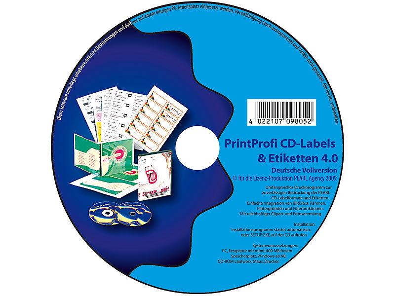4 0 druck software f r cd dvd labels einleger etiketten. Black Bedroom Furniture Sets. Home Design Ideas