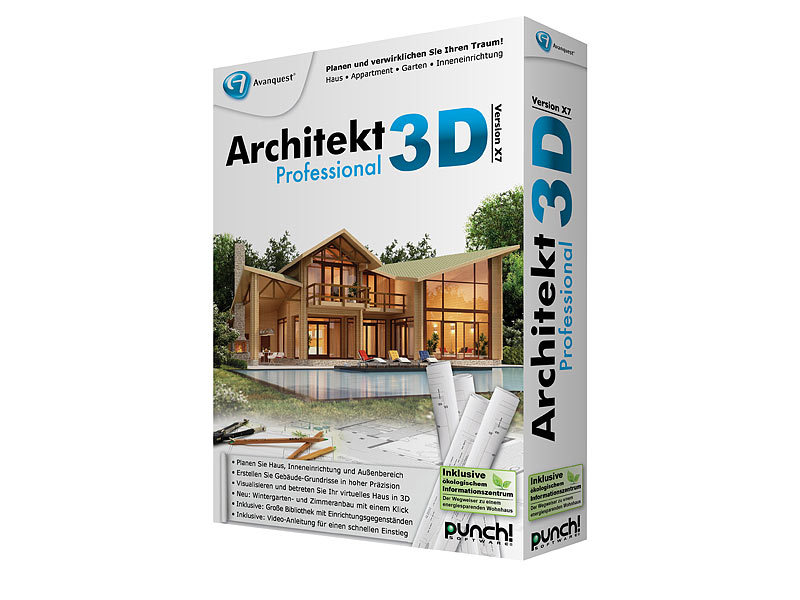 avanquest architekt 3d x7 professional 3d haus gartenplaner. Black Bedroom Furniture Sets. Home Design Ideas