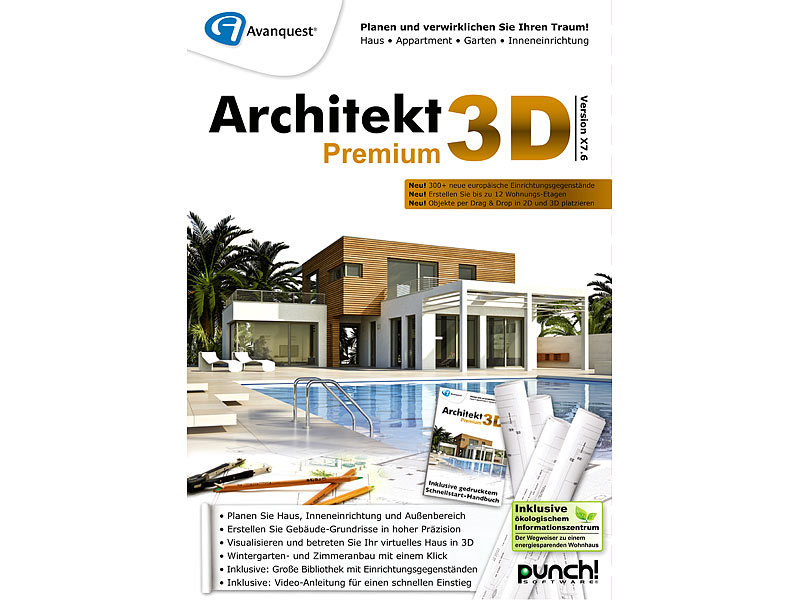 avanquest architekt 3d x7 6 premium 3d haus gartenplaner. Black Bedroom Furniture Sets. Home Design Ideas