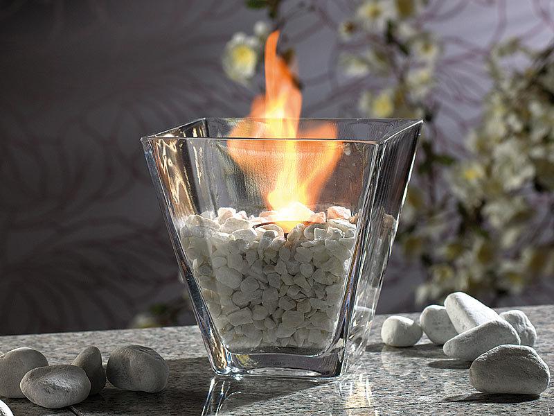"""Glas-Dekofeuer """"Agadir"""" für Bio-Ethanol"""