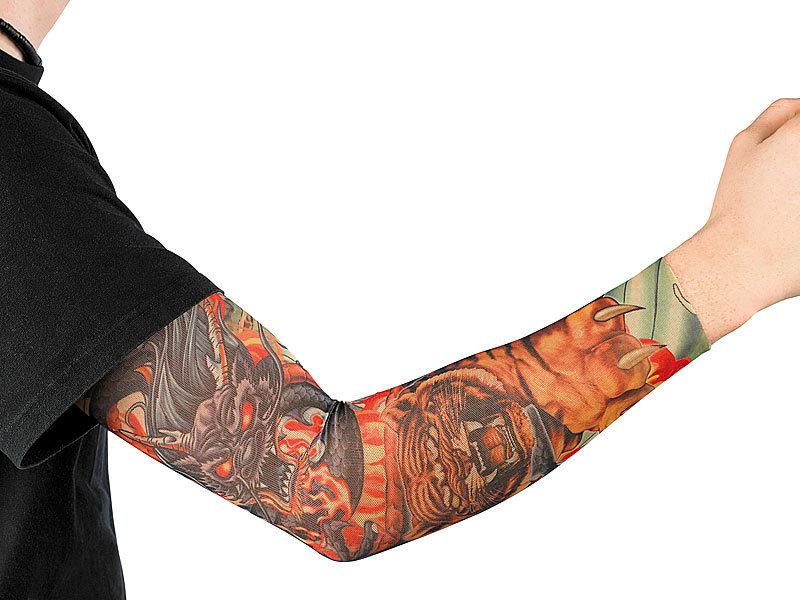 infactory tattoo armlinge paare tattoo armling tiger dragon einmaschiger netzstoff mit. Black Bedroom Furniture Sets. Home Design Ideas