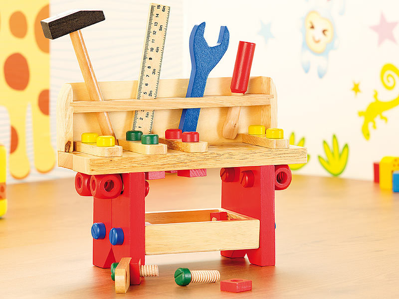 playtastic kinderwerkbank lustige holzwerkbank f r kleine handwerker 51 teilig werkbank kinder. Black Bedroom Furniture Sets. Home Design Ideas