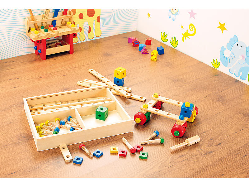 Playtastic 76 teiliger kinder baukasten mit bauelementen for Kinderzimmer echtholz